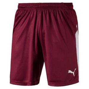 Details zu Puma Fußball Liga Shorts Herren kurze Hose Männer dunkelrot weiß