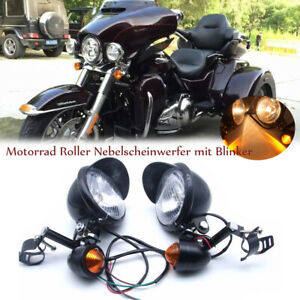 Motorrad-Roller-Nebelscheinwerfer-mit-Blinker-Schwarz-fuer-Harley-Honda-Suzuki-DE