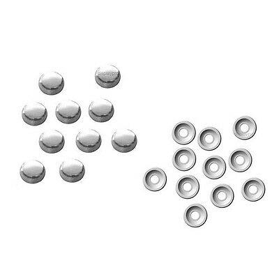 10 x Metalic Chrome Silver Unicaps Screw Cap Covers & Washers Press On Fixings
