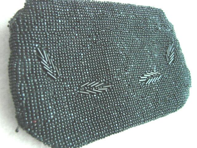 Vintage Black 30s Beaded Purse CZECH Hand hold Zipper VGC 3.5 x 6