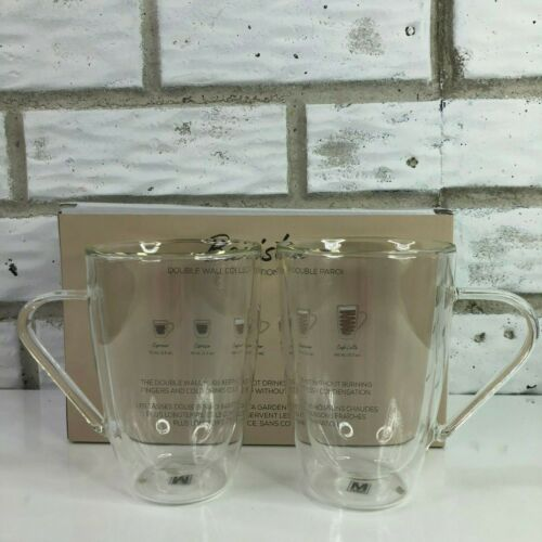 2 Clear Glass Double Walled Lightweight Coffee Mugs Cups Safdie & Co Americano