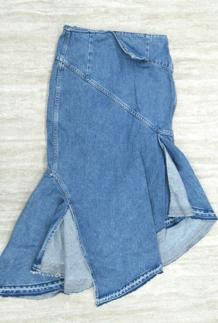 MONSE Women's Denim Trumpet Skirt bluee Size  2
