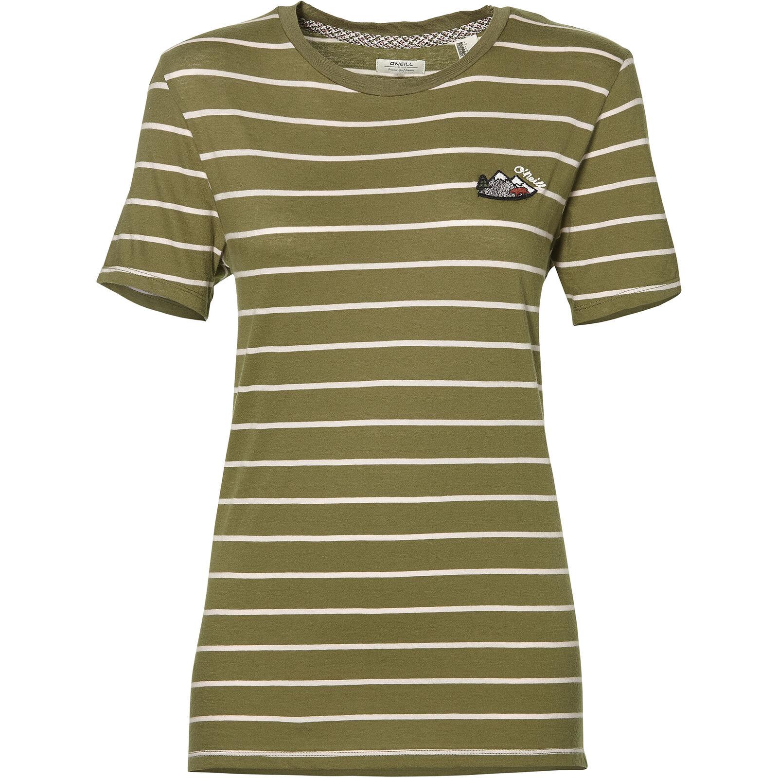 O'Neill Maglietta T-Shirt Lw Premium a Strisce T-Shirt Green a Righe