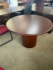 42 Round Conference Table With Drum Base In Mahogany Finish Wood