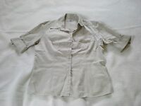 Ladies fawn collared short sleeved tailored shirt