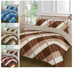Lujo-Cubierta-Edredon-Reversible-Hardy-linea-cruzada-Funda-de-almohada-Juego-de-cama-todas-las