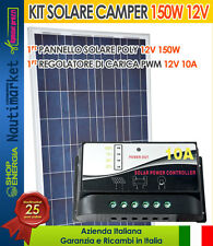 Kit Solare 150W 12V Pannello Fotovoltaico Poly + Regolatore PWM 10A #30200167