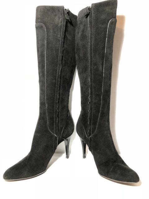 ELIE TAHARI Black Leather Suede Knee High Heeled Boots Women Size 39.5 US 9