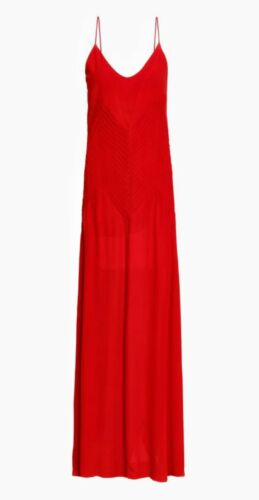Annie Bing Red Silk Slip Maxi Dress large