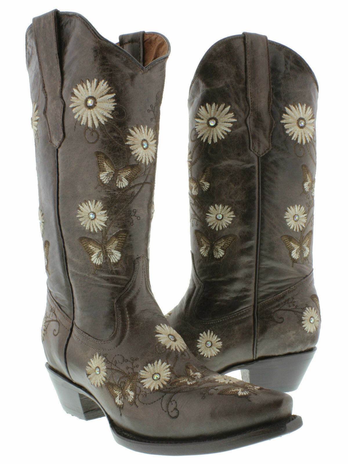 Donna Brown 2 Butterfly Flowers Western Cowboy Pelle Stivali Cowgirl