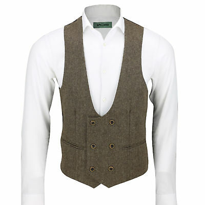 Mens Waistcoat Double Breasted U Cut Herringbone Tweed Check Velvet Formal Vest