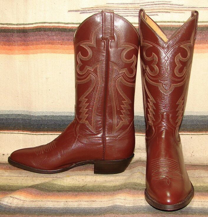 Vintage Panhandle Slim Brown Leather Cowboy Boots Mens 8 D Womens 9.5 M New
