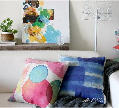 Vintage Cotton Linen Cushion Cover Pillow Case Home Decor Aquarelle Painting