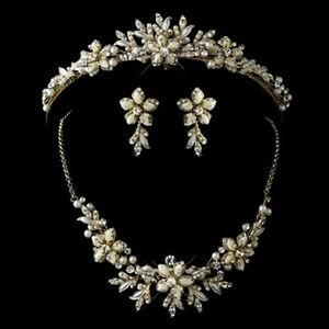 gold ivory and pearl tiara necklace earrings jewelry set