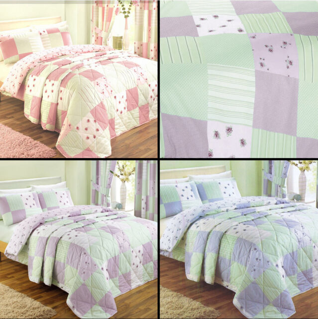 Patchwork Floral Quilt Duvet Cover Bedding Set Pillowcase Pink Lilac Blue Green