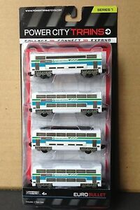 Power City Trains EURO BULLET Set 4 Cars Series 7 New and SEALED