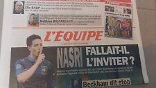 L'EQUIPE N°21489 17 MAI 2013  NASRI/ BECKHAM/ RUGBY/ PAIRE/ SPORTIFS A CANNES
