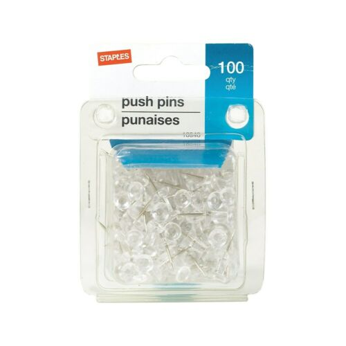 Staples Push Pins Clear 100//Pack 224139