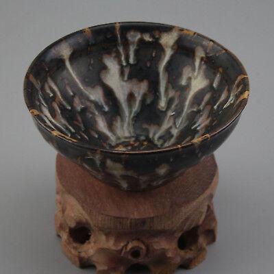 China antique Porcelain hand made SONG JIZHOU kiln Black spot glaze bowl cup