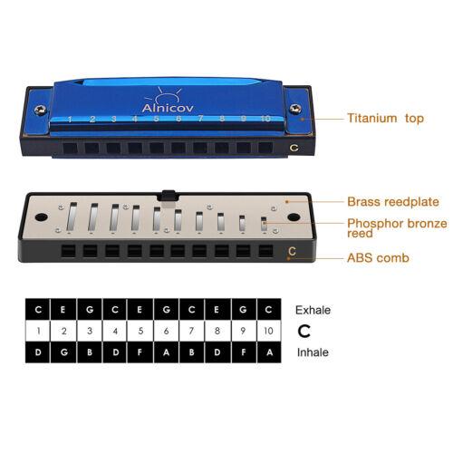 10 Loch Mundharmonika mit Schlüsseletui C für Musikinstrument