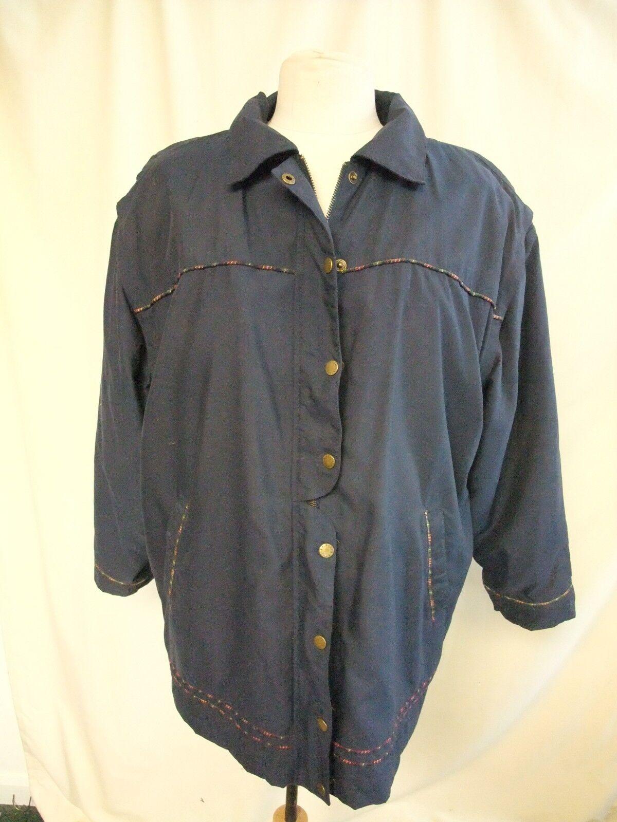 Ladies Coat Alice Collins size M, navy, fleece lining, detachable sleeves 7955