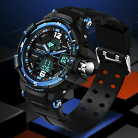New Men's Quartz LCD Digital Rubber Waterproof Army Military Sport Watch