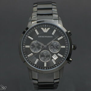Emporio-Armani-Man-039-s-Watch-Chronograph-AR2453-Stainless-Steel-Elegant-Gray-and