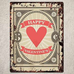 Pp0019 Rustic Happy Valentine S Day Gift Parking Plate Home Cafe
