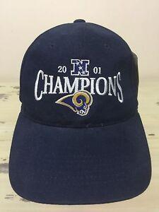 5c08085436b ST LOUIS RAMS - Vtg 2001 NFL NFC Champions SnapBack Hat Cap