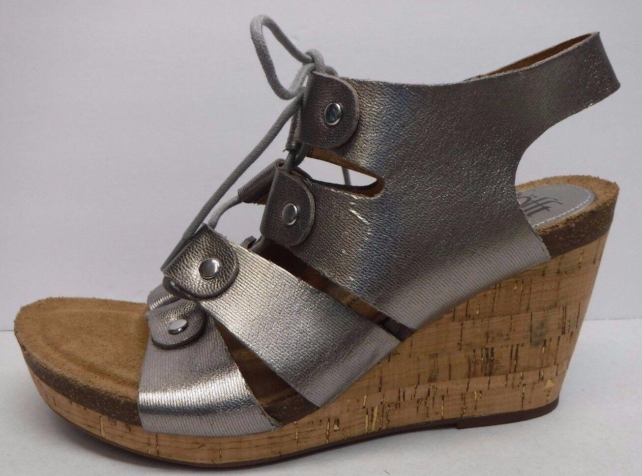 Sofft Größe 9.5 Pewter Leder Cork Wedge Heels NEU Damenschuhe Schuhes