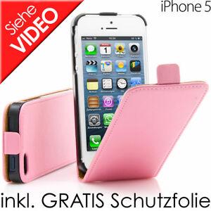 Custodia-Flip-Incl-Pellicola-Protettiva-Display-per-IPHONE-Apple-5-5s-Rosa-Pink