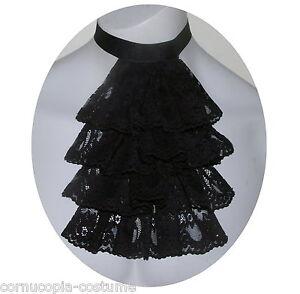 Men-black-lace-jabot-cravat-Victorian-Georgian-Regency-Steampunk-Goth-costume