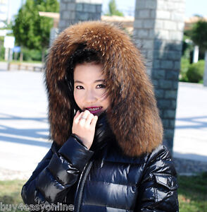 Real-Raccoon-Fur-Collar-Down-Jacket-Hood-Trimming-Scarf-Brown-80-22cm-31X9-034-US