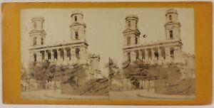 Chiesa-Saint-Sulpice-Parigi-Francia-Foto-Stereo-P28T3n2-Vintage-Albumina-c1870