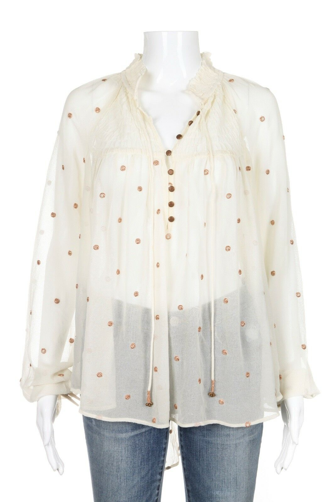 NEW FREE PEOPLE Sheer Blouse Medium Ivory Long Sleeve High Low NWT
