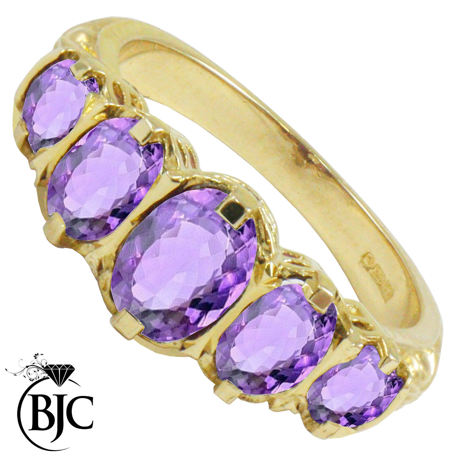 BJC® 9ct Yellow gold Victorian   Gypsy Style Graduating Amethyst 5 Stone Ring