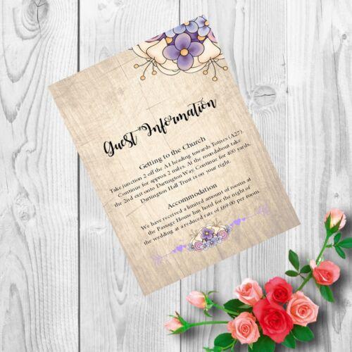 Personalised Handmade Mariage Invitations invite Jour Soirée Vintage X 50 AW22