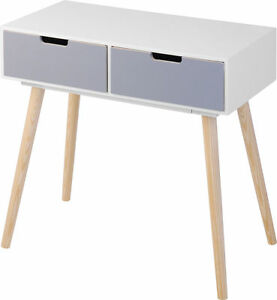 Holz-Kommode-Retro-Design-2-Schubladen-Beistelltisch-Konsolentisch-Sideboard