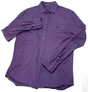 Polo-Ralph-Lauren-Mens-Long-Sleeve-Button-Front-Knit-Dress-Purple-Shirt-Size-XL