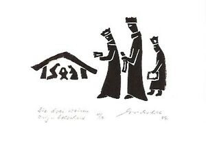 Die drei Weisen - original Holzschnitt - Franz Grickschat Nr 508 signiert - Deutschland - Die drei Weisen - original Holzschnitt - Franz Grickschat Nr 508 signiert - Deutschland