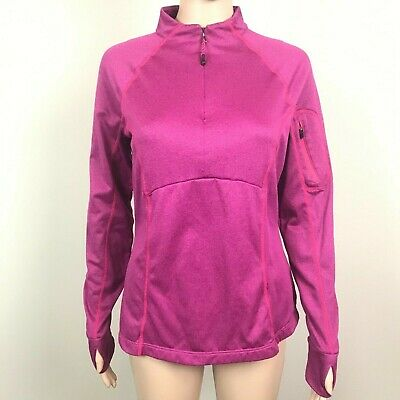 Imported From Abroad Mondetta Women's Size M Magenta Thumb Hole 1/2 Zip Athletic Jacket Fashionable Style; In