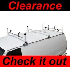 Chevy Express Fullsize Van 3 bar 1996-2016 Ladder Roof Racks Steel WHITE Rack