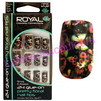 24 Faux Ongles & Colle Noirs Papillons Et Fleurs - Butterfly False Nails & Glue