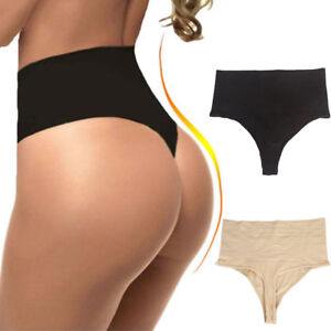 b5a4e6472846b Women s High Waist Body Shaper Tummy Control Panties Thong Butt ...