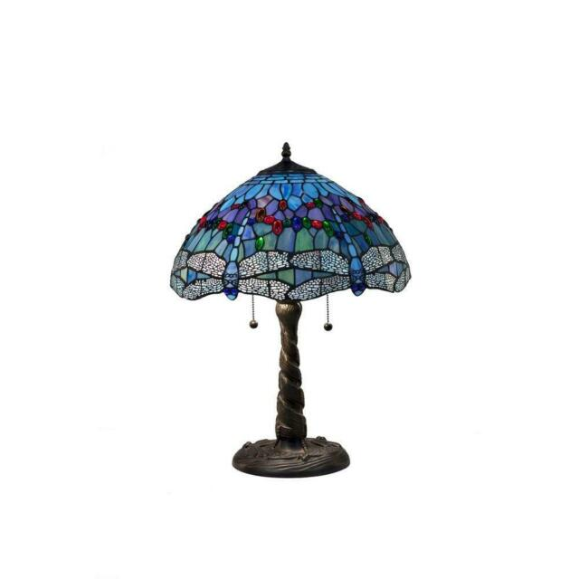 tiffany blue dragonfly 26 in. bronze table lamp | stained glass style shade inch