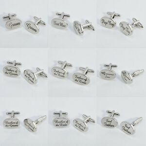 Shiny Silver Oval Mens Wedding Cufflinks Cuff Links Best Man Groom ...