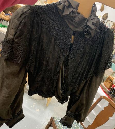 Antique Victorian Edwardian Gray Black Net Lace Bl