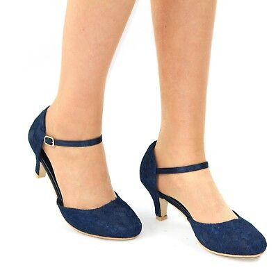 LADIES NAVY BLUE LACE EMBELLISHED LOW HEEL ANKLE STRAP WEDDING SHOES SIZE 3-8