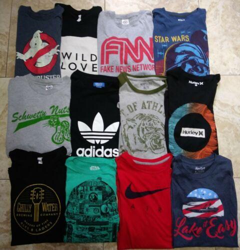Men's T-shirt Lot Of 12 Graphic Tees Nike , Adidas