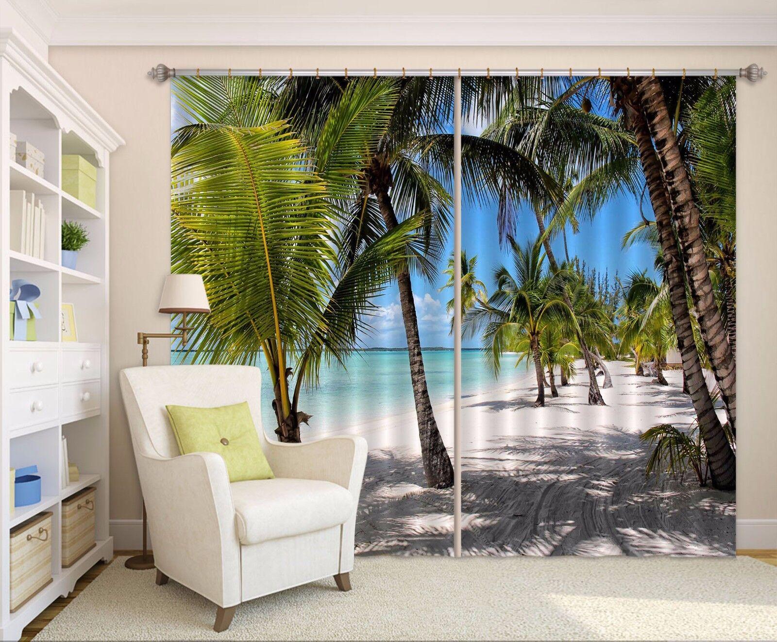 3D árboles de playa 8 Cortinas de impresión de cortina de foto Blockout Cortinas Ventana De Tela nos